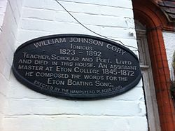 Photo of William Johnson Cory black plaque