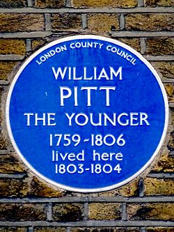 William pitt the younger 1759 1806 prime minister lived here 1803 to 1804