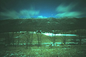 Wills Mountain - Wills Mountain at night, viewed facing west from US 220 south of Bedford, Pennsylvania.