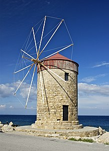 a windmill in the harbour of Rhodes, Greece