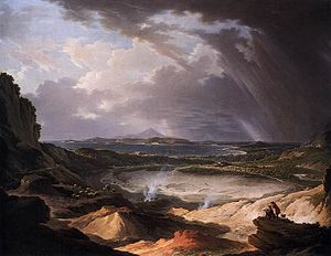 Phlegraean Fields - A fumarole at the Phlegraean Fields; painting by Michael Wutky (1780s)