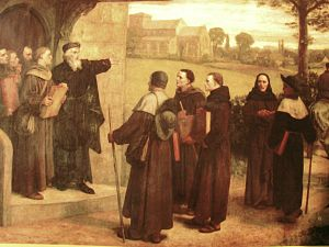 Lollardy - In this 19th-century illustration, John Wycliffe is shown giving the Bible translation that bore his name to his Lollard followers.