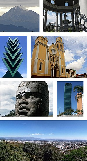 Clockwise, from upper left: Pico de Orizaba, General Juan de la Luz Enríquez Lara tomb, Xalapa Cathedral, cityscape, panoramic view from the Mountain of the Macuiltepetl, Olmec colossal head from Museo de Antropología de Xalapa, Araucaria sculpture
