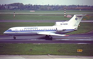 Avioimpex Flight 110 - The aircraft involved in the crash, seen at Düsseldorf Airport in April 1993