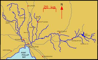 Карта Ярры и ее притоков