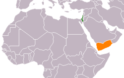 Map indicating locations of Israel and Yemen