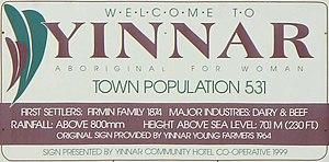 Yinnar, Victoria - Image: Yinnar Sign 1999