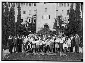 Demographic history of Jerusalem - Arab boys at Jerusalem YMCA, 1938.