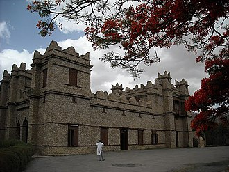 Mek'ele - Castle built by Yohannes IV the construction technique have as its model the palaces of the Axumite Empire especially the Dungur palace to Axum and others in the region of Tigray, predominant technique in this region.