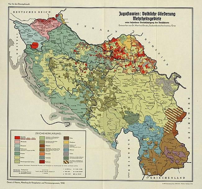 Ethnic composition of Yugoslavia in 1940, detail. Croats in blue