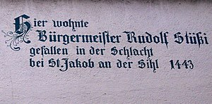 Rudolf Stüssi - Memorial plate