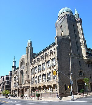 Yeshiva University - David H. Zysman Hall, a Moorish Revival building on Yeshiva University's Wilf Campus, is home to Yeshiva University High School for Boys and houses the former main beit midrash (Torah study hall)