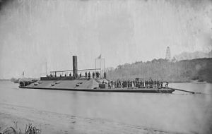 """Atlanta"" (Confederate Ram) on James River after capture - NARA - 527533.jpg"