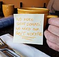 """""""No More Shut Downs"""" CoffeeandCompromise Message on Coffee Cup.jpg"""