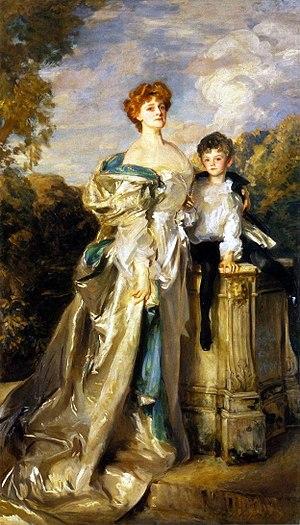 Daisy Greville, Countess of Warwick - Frances Evelyn 'Daisy' Greville, Countess of Warwick, and her son Maynard Greville (1898-1960), by John Singer Sargent (1905)
