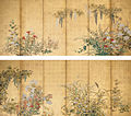 'Spring and Autumn Flowers, Fruits, and Grasses', 18th century, Japan, Edo period, Pair of six-fold screens.jpg