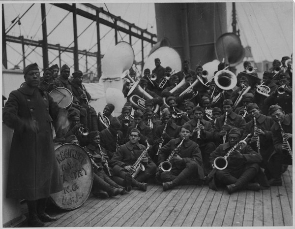 SS Stockholm. 369th Infantry Regiment Band and leader Lt. James Reese Europe, winter 1918-1919 (African American) Jazz Band and Leader Back with (African American) 15th New York. Lieutenant Jame . . . - NARA - 533506.tif