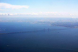 Øresund Bridge - The bridge's full stretch between Peberholm and Malmö