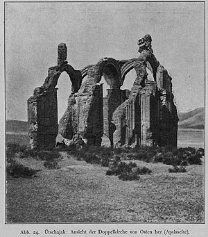 Üçayak Byzantine Church - The ruins of the Üçayak Byzantine Church as they appeared in 1900. The dome arches were destroyed in an earthquake in 1938.