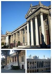 İstanbul Arkeoloji Müzeleri (collage) - Arkeoloji Müzesi (üstte), Eski Şark Eserleri Müzesi (solda), Çinili Köşk Müzesi (sağda).jpg