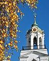 Звонница с церковью Богоматери Печерской, синее небо, золотая листва октября.jpg