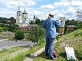 Ильинская и Троицкая церкви, Серпухов (художник за работой).jpg