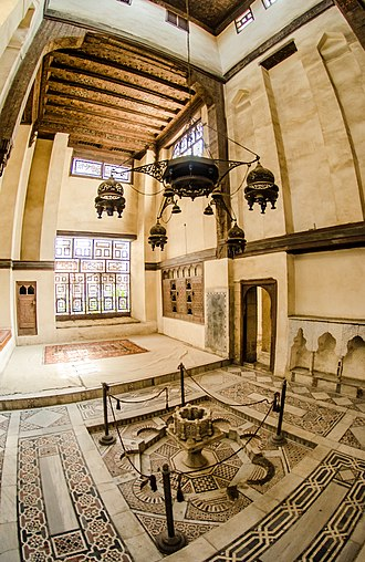 Qa'a (room) - This qa'a in Bayt Al-Suhaymi Cairo is equipped with a cooling fountain and a lantern.