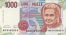 maria montessori auf der italienischen 1000 lire banknote die zwischen 1990 und 1998 ausgegeben wurde - Maria Montessori Lebenslauf