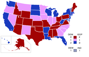 108th United States Congress - Senators' party membership by state