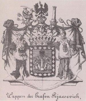 "Pejačević - Coat of arms of the House of Pejačević, here spelled as Pejacsevich (""Wappen der Grafen Pejacsevich"")."