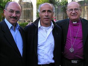 Riah Abu El-Assal - Bishop Riah Abu Assal meeting with Ali Kazak and Mordechai Vanunu in Jerusalem, 2005