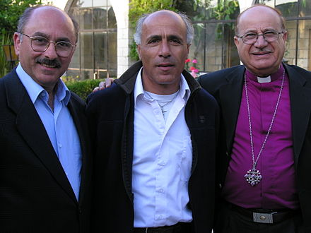 Meeting with Vanunu, Ali Kazak, and Bishop Riah Abu Assal in Jerusalem 2005