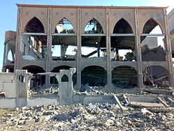 Destroyed mosque in Rafah, during the Gaza War.