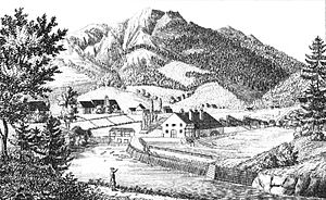 Hammer mill - Innere Krampen hammer mill, lithograph c. 1830, J.F.Kaiser, Graz, Austria