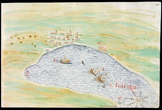 Japan–Mexico relations - San Juan Bautista ship docked in Acapulco bay in 1614