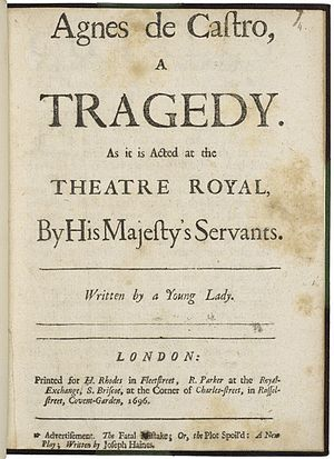 Catharine Trotter Cockburn - The title page of a 1696 edition of Trotter's Agnes de Castro.