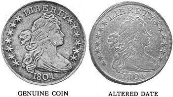 A comparison of the obverse of two coins