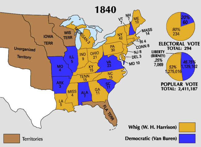 United States Presidential Election Wikipedia - Map of the us in 1840