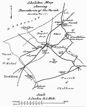 Bagshot - An 1890 map of the Windlesham Parish area