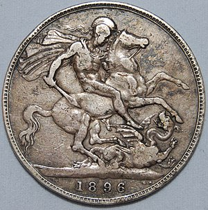 Crown (British coin) - Image: 1896 old head victoria crown