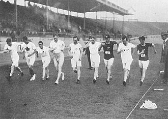 Racewalking - The start of the 3500 m walk final, 1908 Olympics