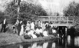 Katy, Texas - Katy Residents gather for a photo at Cane Island Creek Bridge in 1911