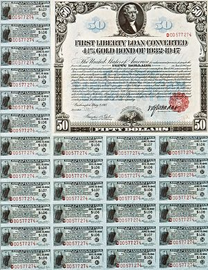Liberty bond - Image: 1918 $50 4.25% First Liberty Loan Converted