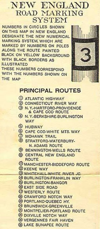 New England road marking system - 1922 list