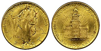 United States Sesquicentennial coinage - Image: 1926 $2 1 2 Sesquicentennial