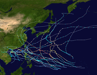 1953 Pacific typhoon season - Image: 1953 Pacific typhoon season summary map
