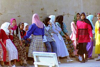 Women in Egypt - School girls visiting the Egyptian Temple of Isis from Philae Island (1995).