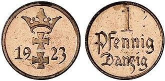 Danzig gulden - Image: 1fenig gdansk