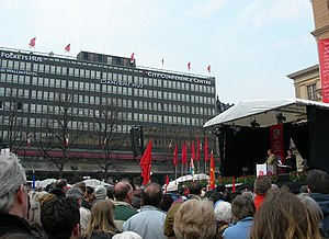 People's Houses - Folkets hus at Norra Bantorget in Stockholm. Social Democratic Prime Minister Göran Persson speaking at May Day event, 2006.