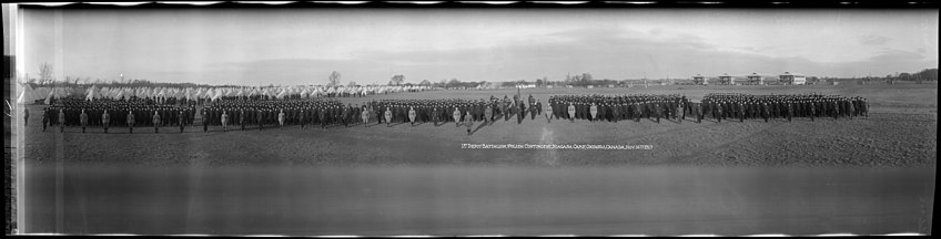 Panoramic picture of men standing to attention